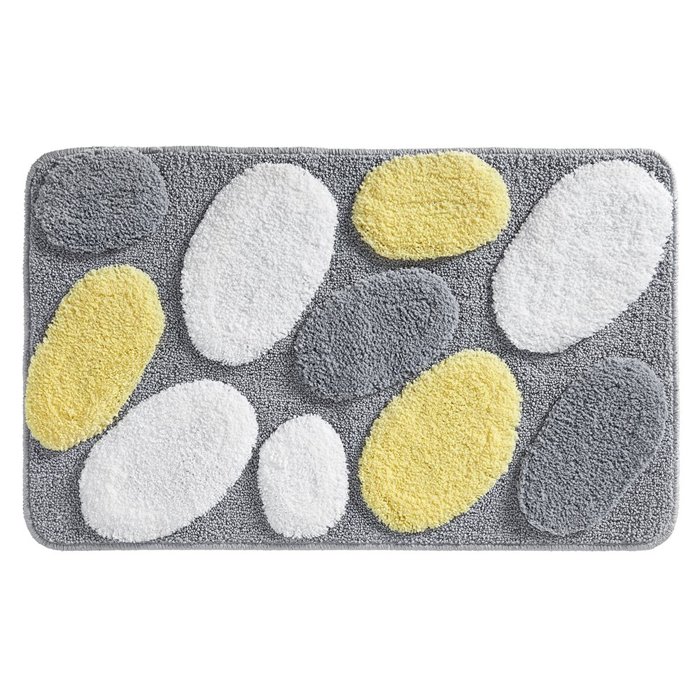 InterDesign Pebblz Rug, 34 x 21, Yellow/Gray