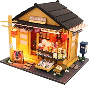 Cool Beans Boutique Miniature DIY Dollhouse Kit Wooden Japanese Shop with Dust Cover - Architecture Model kit (English Manual) (Japanese Grocery Store)