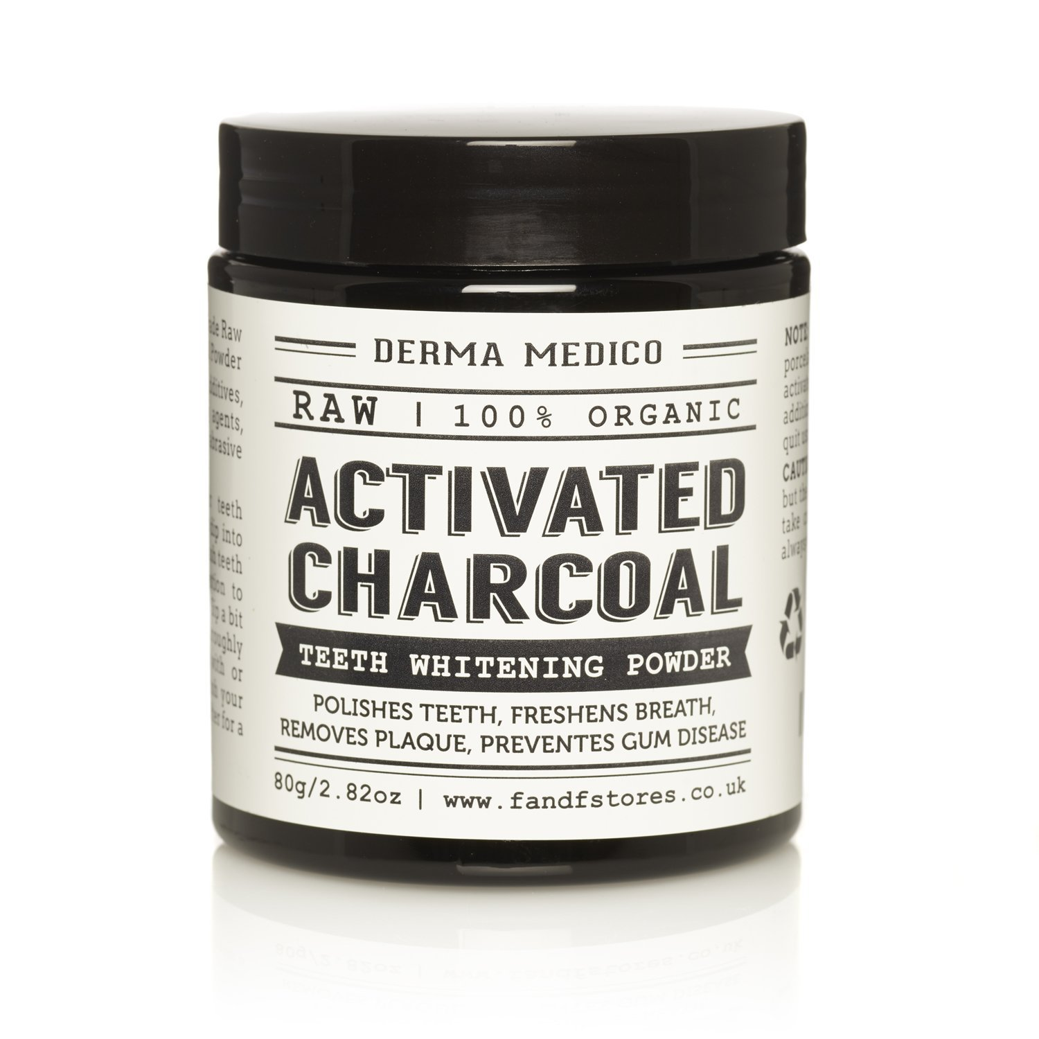 Derma Medico Activated Charcoal Teeth Whitening Powder Raw Coconut Shell by Derma Medico | Polishes Teeth | Freshens Breath | Removes Plaque |