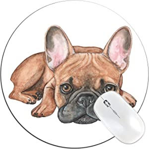 """FannyD French Bulldog Unique 8"""" Round Mouse Pad, Low Profile (1/8"""") with Anti Slip Rubber Backing & Cloth Surface Featuring Art by Fanny Dallaire. for PC, Laptop, Mac (French Bulldog)"""