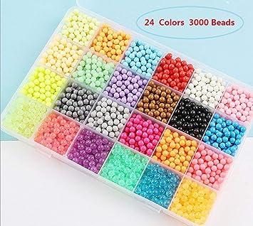 MEANS Fuse Beads Kit, Water Glued Beads, 3000 Beads con 24 colores Water Sticky Beads, kit de recarga Compatible Beads Magic Water Sticky Beads Art Crafts Juguetes para niños principiantes: Amazon.es: Hogar