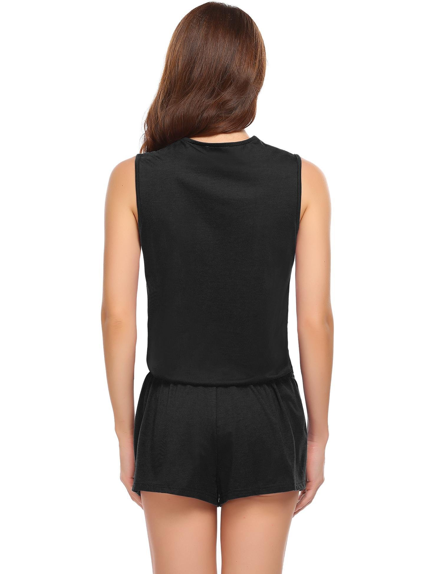 Ekouaer Rompers Women Sexy v neck Conjoined for summer(black,large)