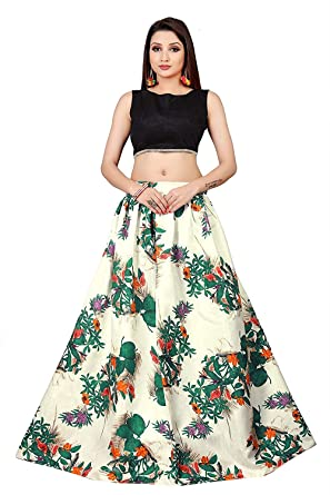 52a92b06d Sky World Girl's Banglori Silk Semi-Stitched Lehenga Choli (Black and  White, 8