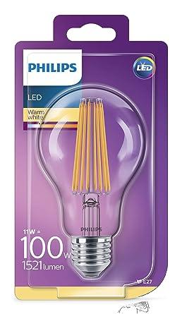 Philips bombilla LED estándar de filamento, efecto vintage, casquillo gordo E27, 11 W