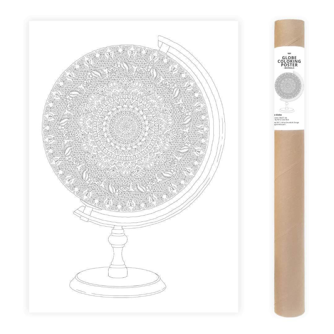 Livre Coloriage Adulte Affiche /À Colorier Poster 50x70cm Globe Mandala Adulte Coloriage G/éant