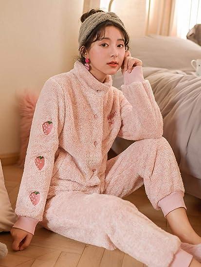 Bayrick Pijamas Mujer Invierno Polar,Conjunto Pijama Pareja ...