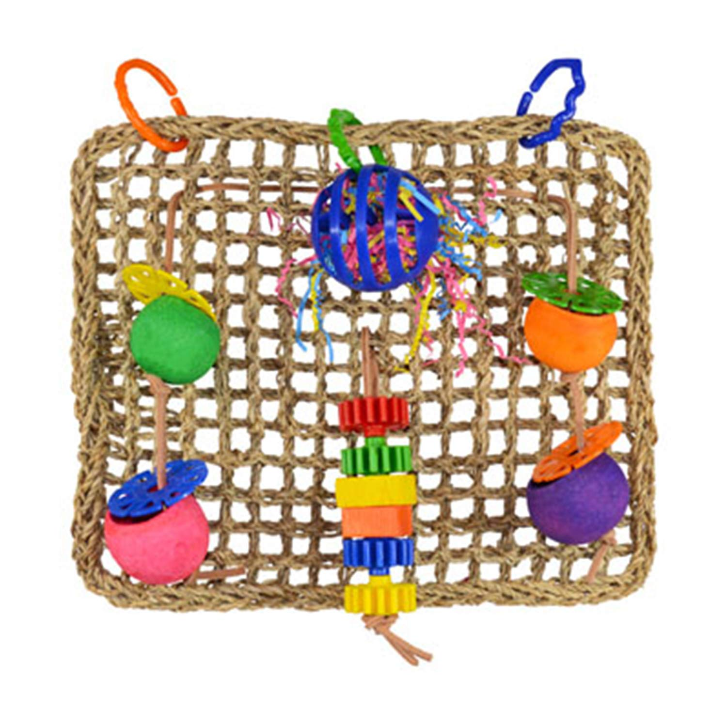 Super Bird SB746 Seagrass Foraging Wall Bird Toy with Colorful Fun Gears, Large Size, 4'' x 14'' x 14'' by SUPERBIRD