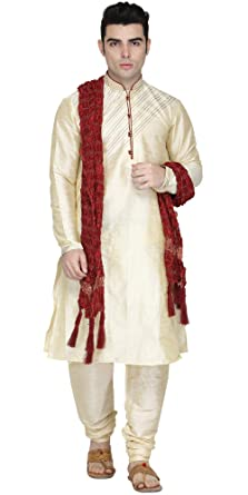 4b3752acc50 Amazon.com  Indian Kurta Pajama Stole 3- Pieces Set for Men Long Sleeve  Traditional Kurta Pyjama Wedding Party Dress  Clothing