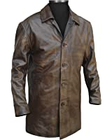 Mens Brown Distressed Leather Car Coat at Amazon Men's Clothing store: