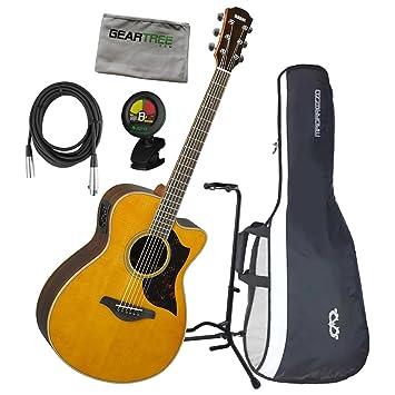 Yamaha ac1r VN una serie concierto tamaño Vintage Natural acústica guitarra eléctrica w/gamuza de geartree, cable, soporte, sintonizador, ...