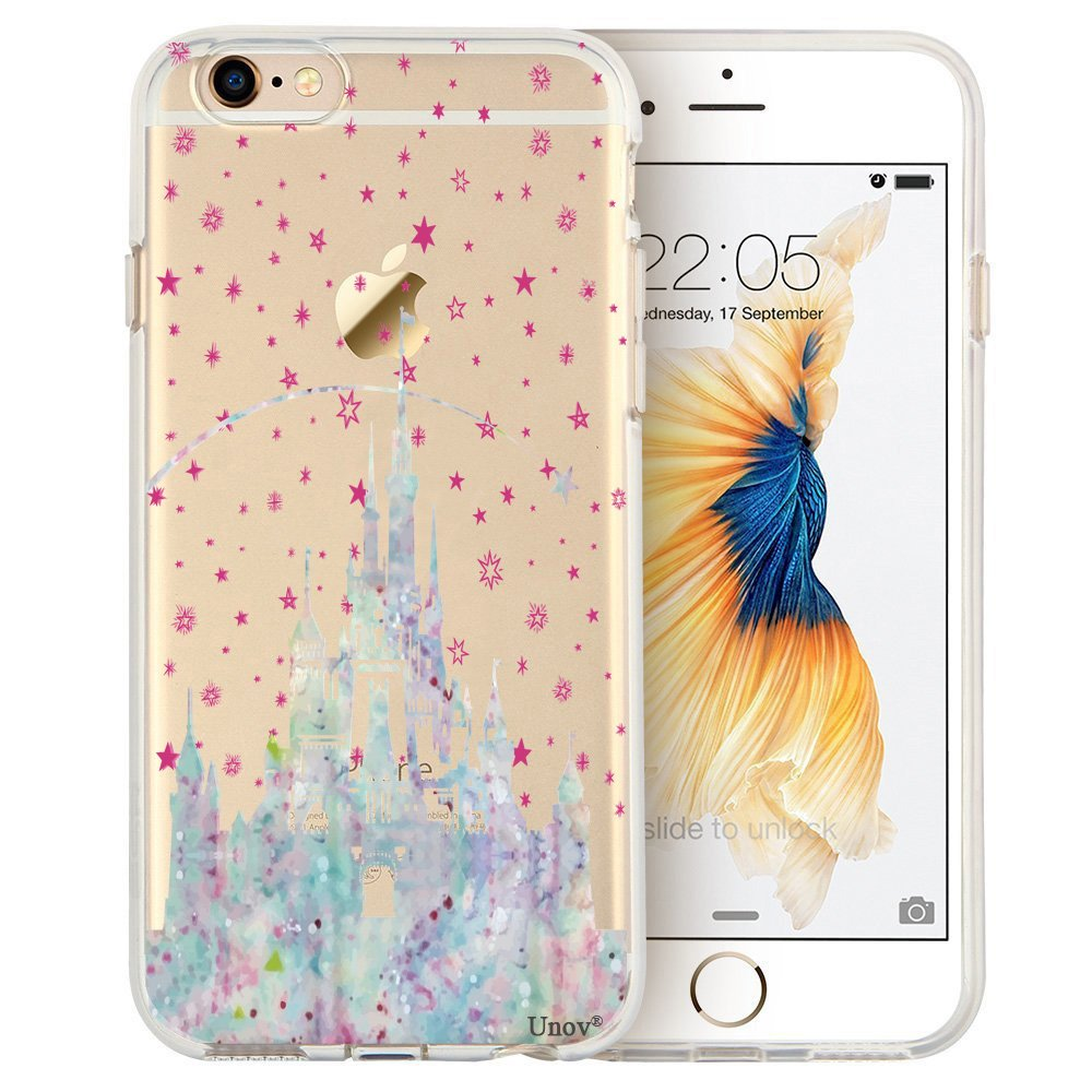 Unov Case Clear with Design Embossed Pattern Soft TPU Bumper Shock Absorption Slim Protective Cover for iPhone 6s iPhone 6 4.7 inch(Watercolor Castle)
