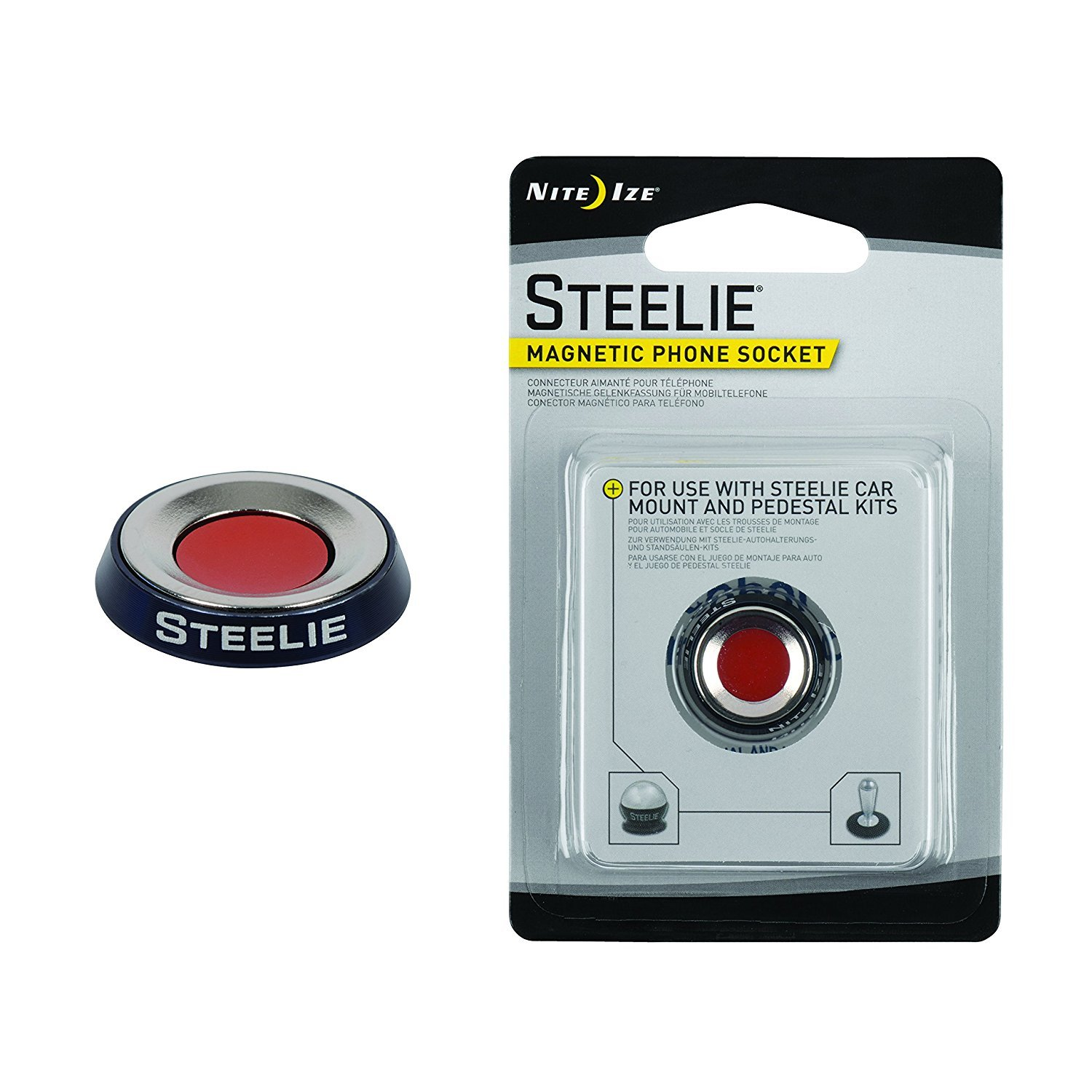 Nite Ize Original Steelie Magnetic Phone Socket - Additional Magnet for Steelie Phone Mounting Systems