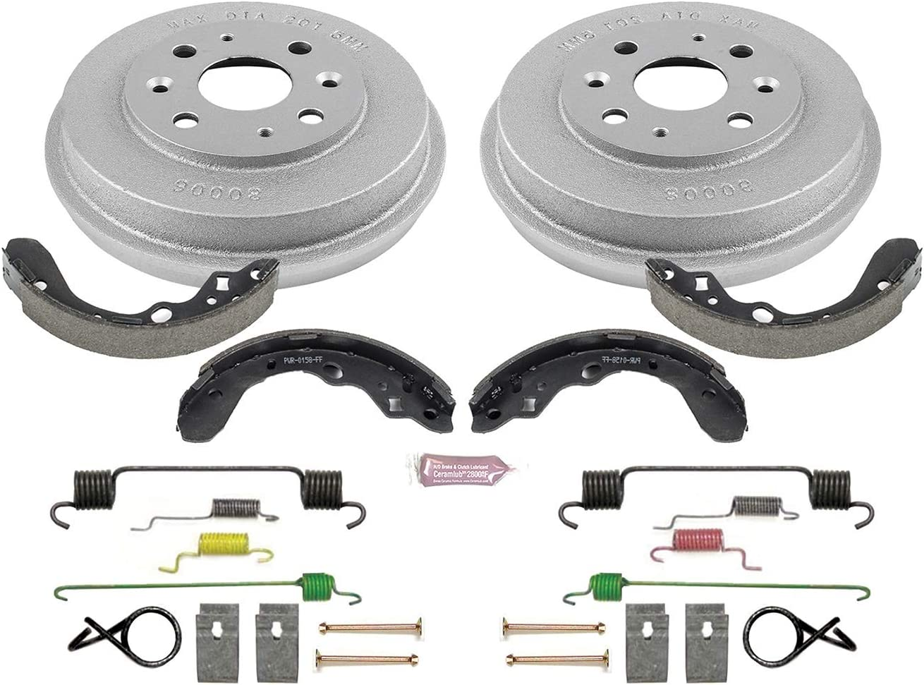 Power Stop KOE15055DK Autospecialty Front and Rear Replacement Brake Kit-OE Brake Drums /& Ceramic Brake Pads