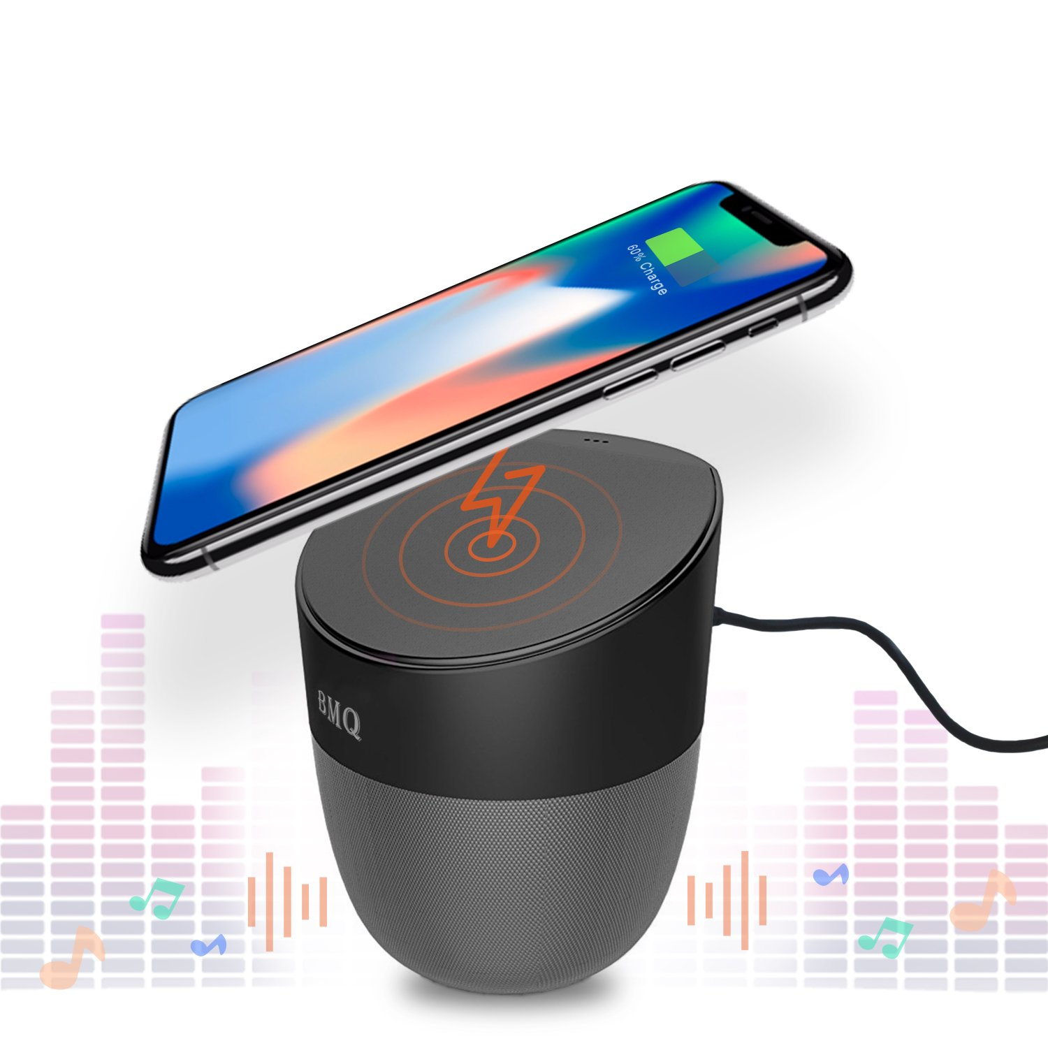 Bluetooth 4.0 Speaker & Wireless Charger Hands-Free Power Bank | Enables Qi Charging | 2 x 5W Speakers | Works with iPhone 8/8+/X, Samsung Galaxy S7, S8, Android, all other Qi enabled devices