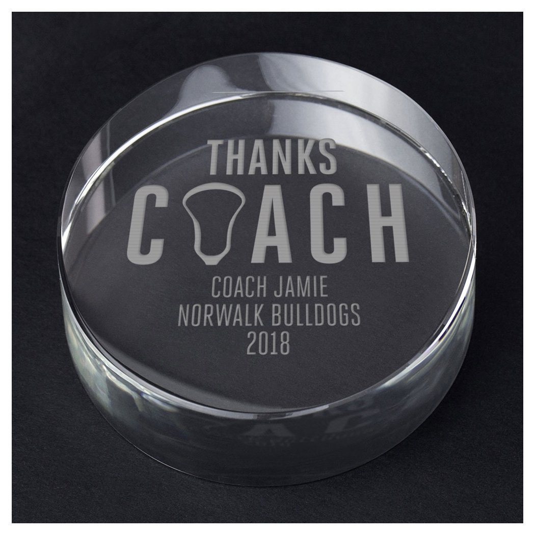 ChalkTalkSPORTS Guys Lacrosse Personalized Crystal Award Gift | Thanks Coach