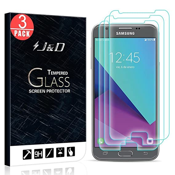 J&D Compatible for 3-Pack Galaxy J3 Emerge/J3 2017/J3 Prime/Amp Prime  2/Express Prime 2 Glass Screen Protector, [Tempered Glass] Glass Screen