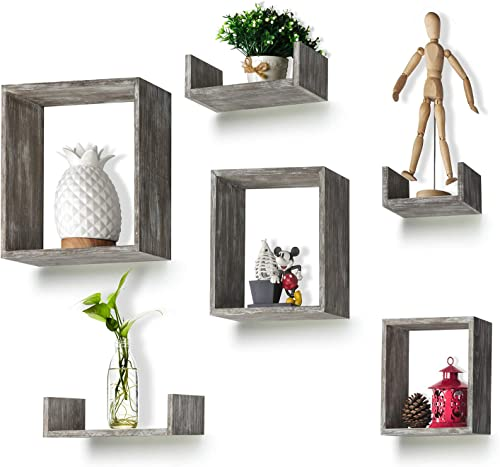 RR ROUND RICH DESIGN Floating Shelves Set of 6 – Rustic Wood Wall Shelves with 3 Square Boxes and 3 Small U Shelves for Free Grouping Driftwood Finish