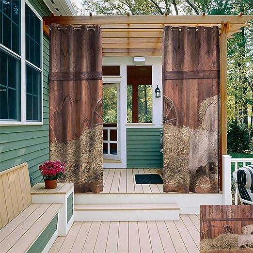 Leinuoyi Rueda de madera de granero, cortina de exterior moderna ...