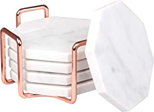 D'Eco White Carrara Marble Coasters with Rose Gold Holder- Set of 5 - Tabletop Protection for Any Table Type- Fits Any Size Wine Glasses, Cups, Mugs- Great for House Decor