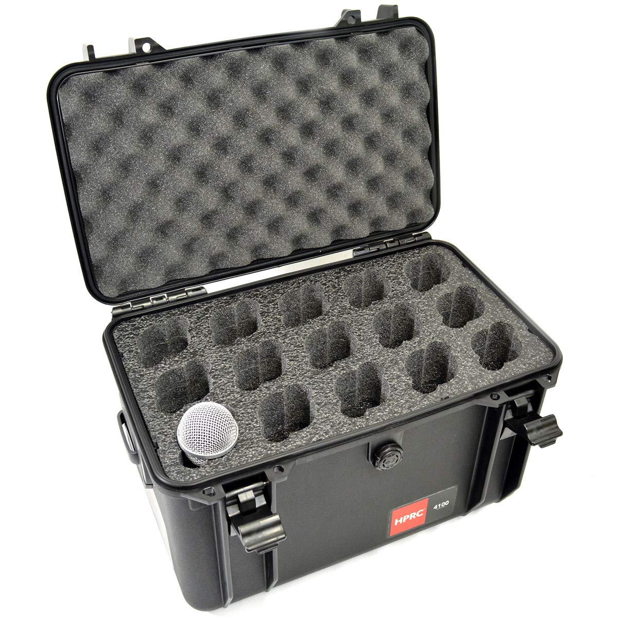 MyCaseBuilder 15 Mic Custom Designed Padded Foam Insert HPRC 4100 Carrying Case - Lightweight Waterproof Crushproof Hard Case with Foam Fits 15 Microphones for Safe Travel, Storage & Transportation