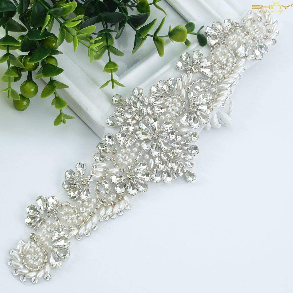 Round Beaded Motif Diamante Bridal Dress Trimming Crystal Wedding Applique 4 pcs