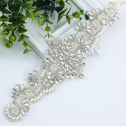 Crystal Beaded Rhinestone Applique Belt Sash DIY Wedding Bridal Dress Headpiece
