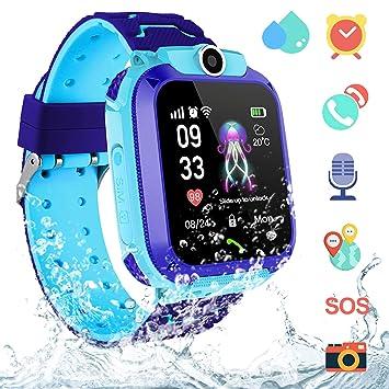 Smartwatch Niños IP67 Impermeable - AGPS LBS Tracker Localizador Reloj Inteligente Niños, Smartwatch Niña con Cámara SOS Chat de Voz Juego Alarma, ...