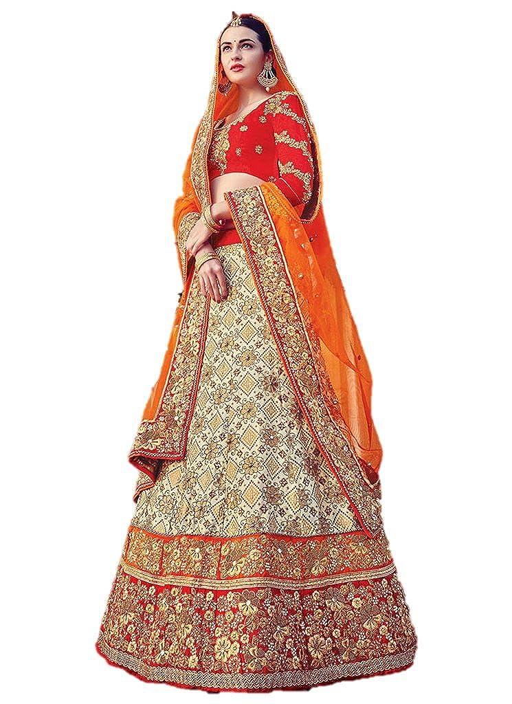 0f4972a2dbe EthnicWear Beige Silk Lehenga Choli Hot Designer Bridal Wedding Wear Dress  Collection at Amazon Women's Clothing store: