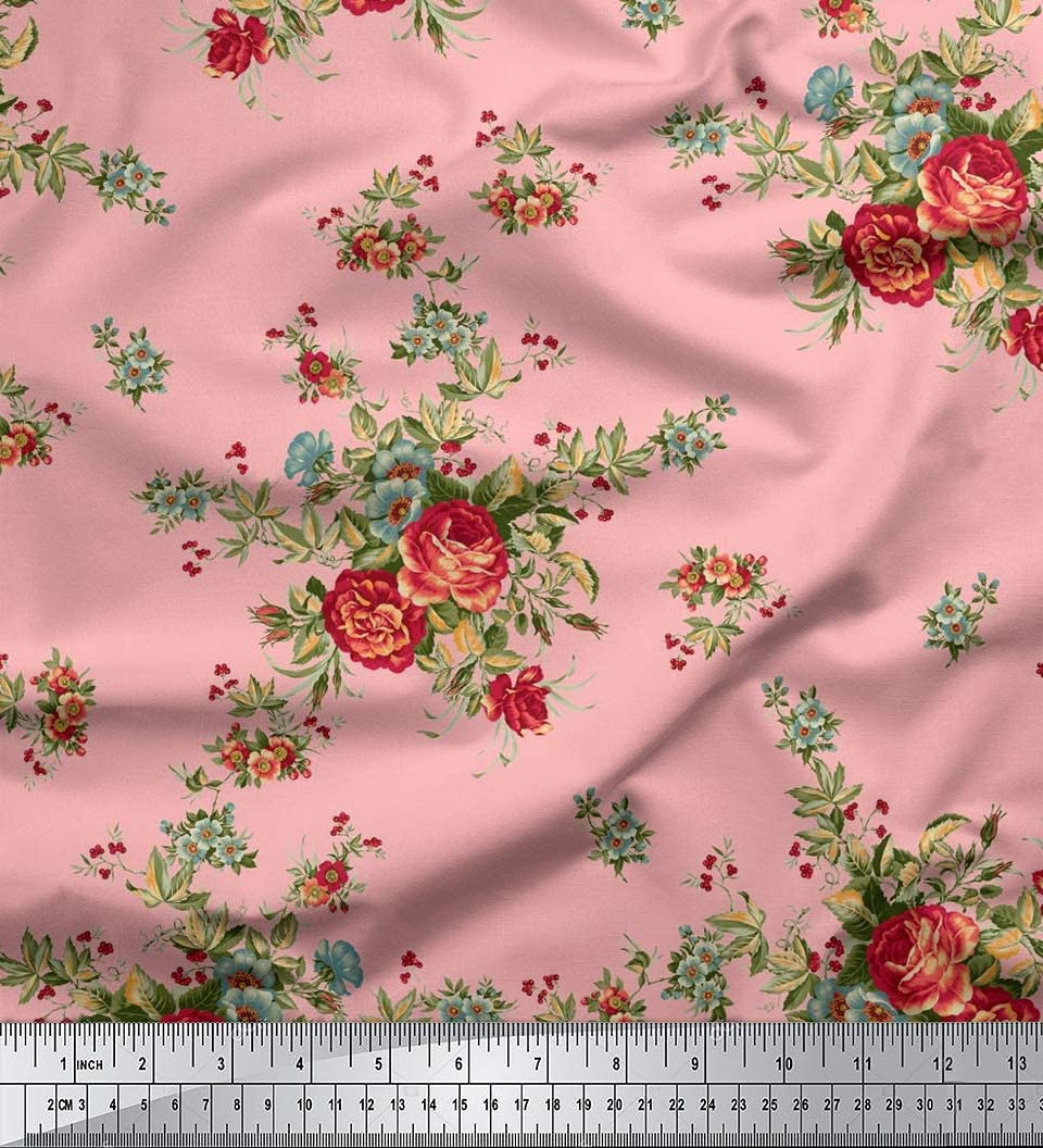 Chiffon Fabric Floral Print Brown 3 Yards 44 Inches Width Crafts Sewing