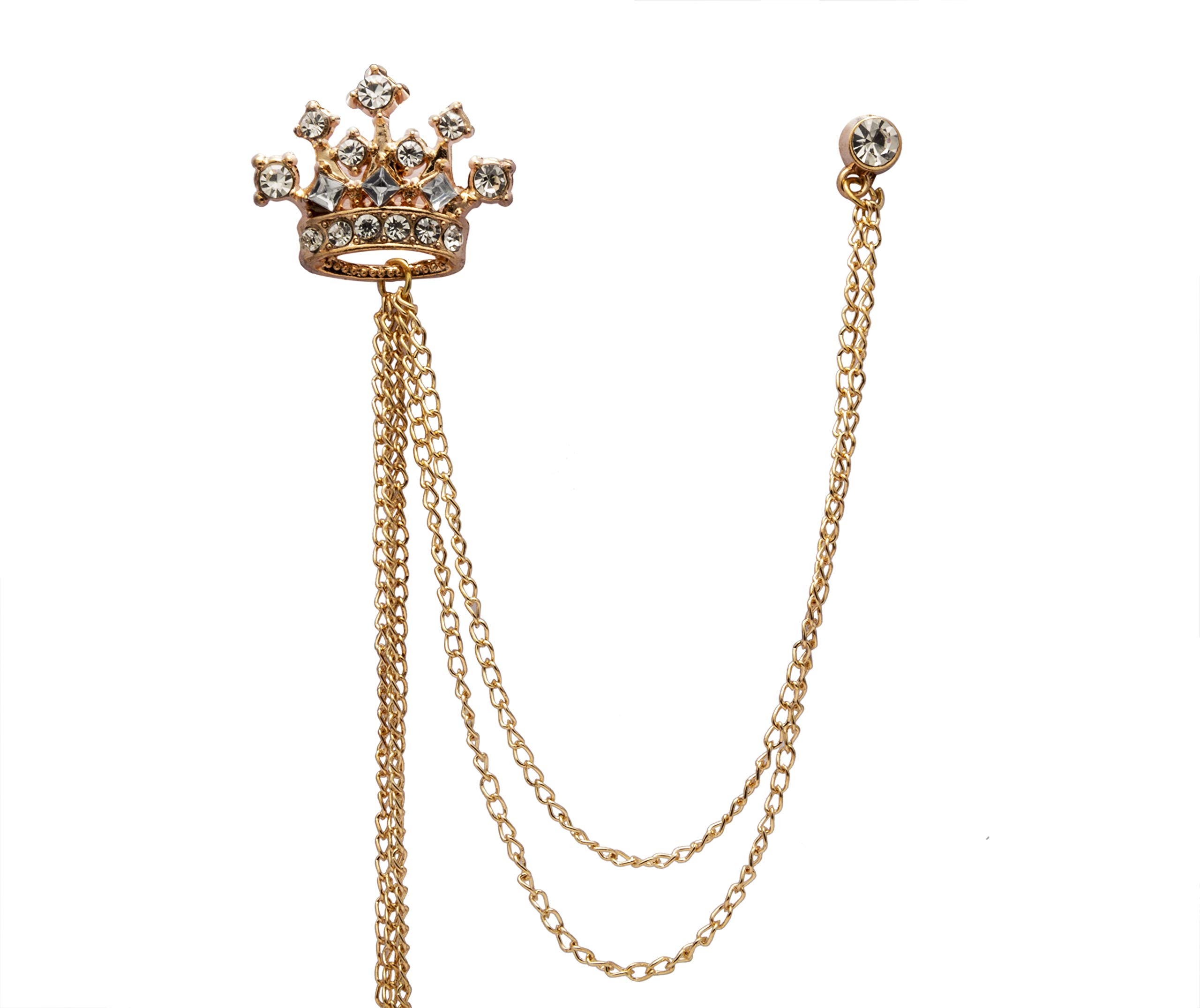 Knighthood Crowned Stone With Hanging Chain Brooch/Collar Pin/Lapel Pins for Men by Knighthood