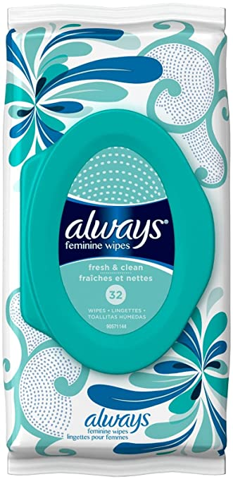 Always Feminine Wipes Fresh & Clean Scent 32 Count, 32 Count Pack Of ...