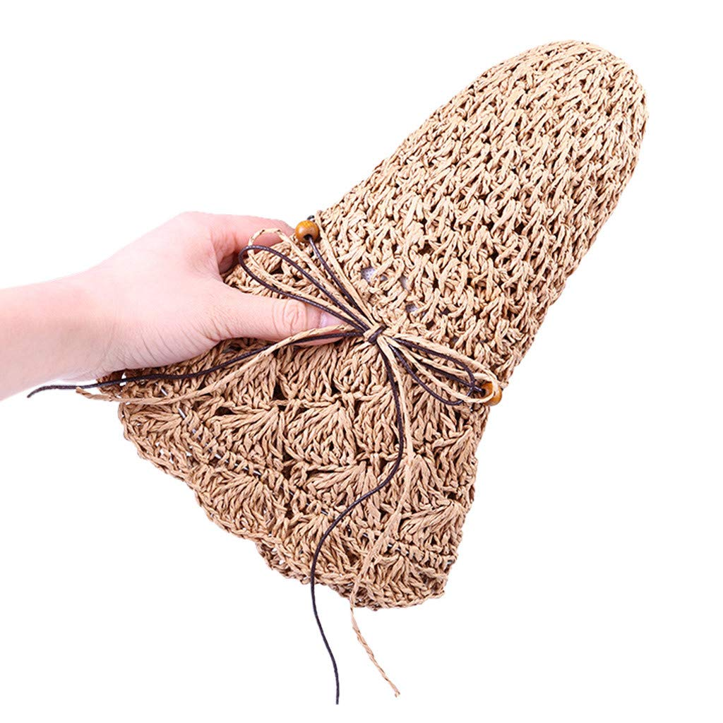 Sallydream Sombrero de Ganchillo Plegable Sombrero de c/úpula Hueca Paja Ancha ala Verano Playa Mujeres Sombreros LJ-7005