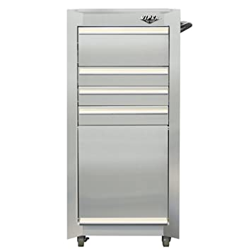 Viper Tool Storage V1804SSR 16 Inch 4 Drawer Stainless Steel Rolling Tool /  Salon