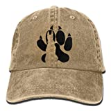 Paw with Dog Silhouette Unisex Baseball Cap Cotton
