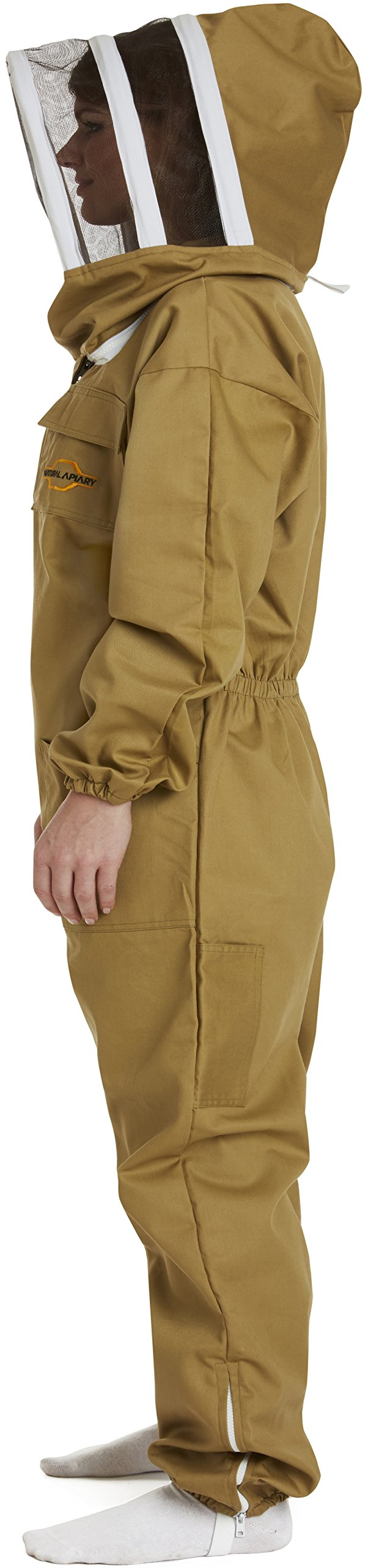 NATURAL APIARY - Apiarist Beekeeping Suit - Khaki - (All-in-One) - Fencing Veil - Total Protection for Professional & Beginner Beekeepers - X Large by Natural Apiary (Image #7)