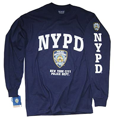 e4a254b64 NYPD Shirt Long Sleeve T-Shirt Navy Blue Apparel Officially Licensed  Merchandise by The New York City Police Department: Amazon.co.uk: Clothing