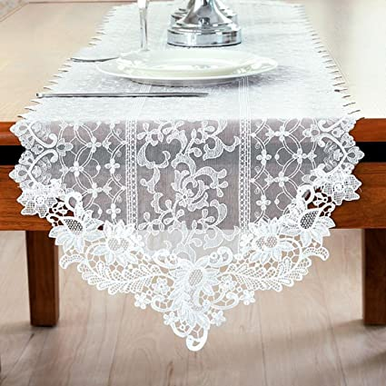 Amazon Com Huaide White Lace Table Runner Wedding Reception