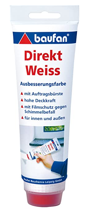Baufan Direkt Ausbesserungsfarbe, Weiß mit Auftragsbürste, 250 ml ...