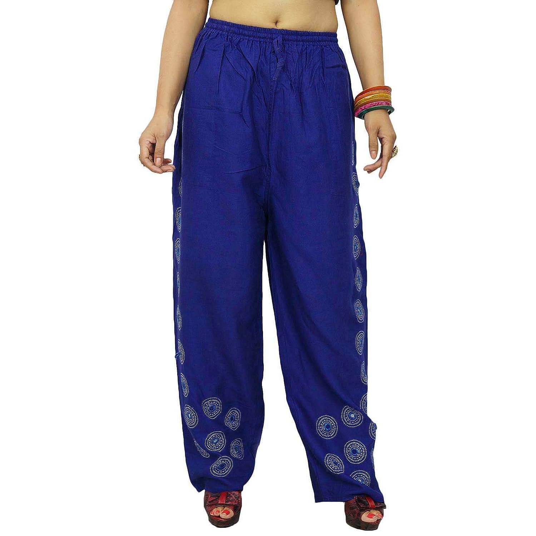 Blau Haremshosen Boho Gypsy Hose elastische Hose mit Blumen Spiegel Pailletten