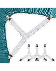 Felly Sangles Draps de Lit 4 Pièces Attache Drap Housse Triangle Attache Matelas élastique Tendeur de Draps Réglable Bretelles Sangle Matelas