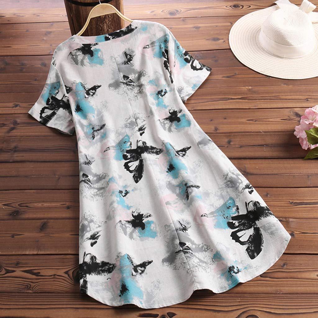 Psunrise Arriba Women Casual Loose O Neck Irregular Floral Print Patchwork Long Sleeve T-Shirt Top Blouse