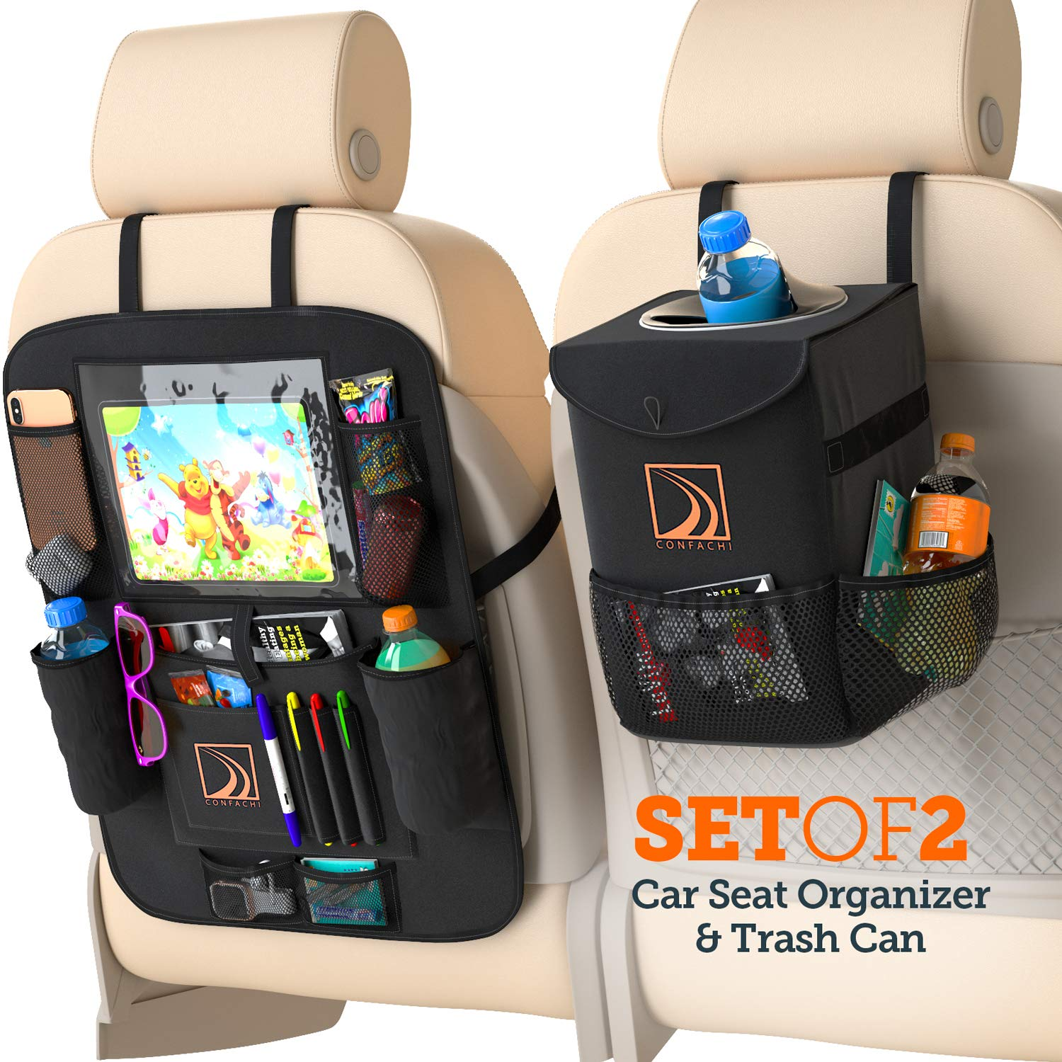 Confachi Backseat Organizer and Car Trash Can Bundle of Car Garbage Can with Lid and Car Seat Organizer for Kids with Ipad Holder and Cup Holder and Extra Car Storage Pockets ( Black) by Confachi