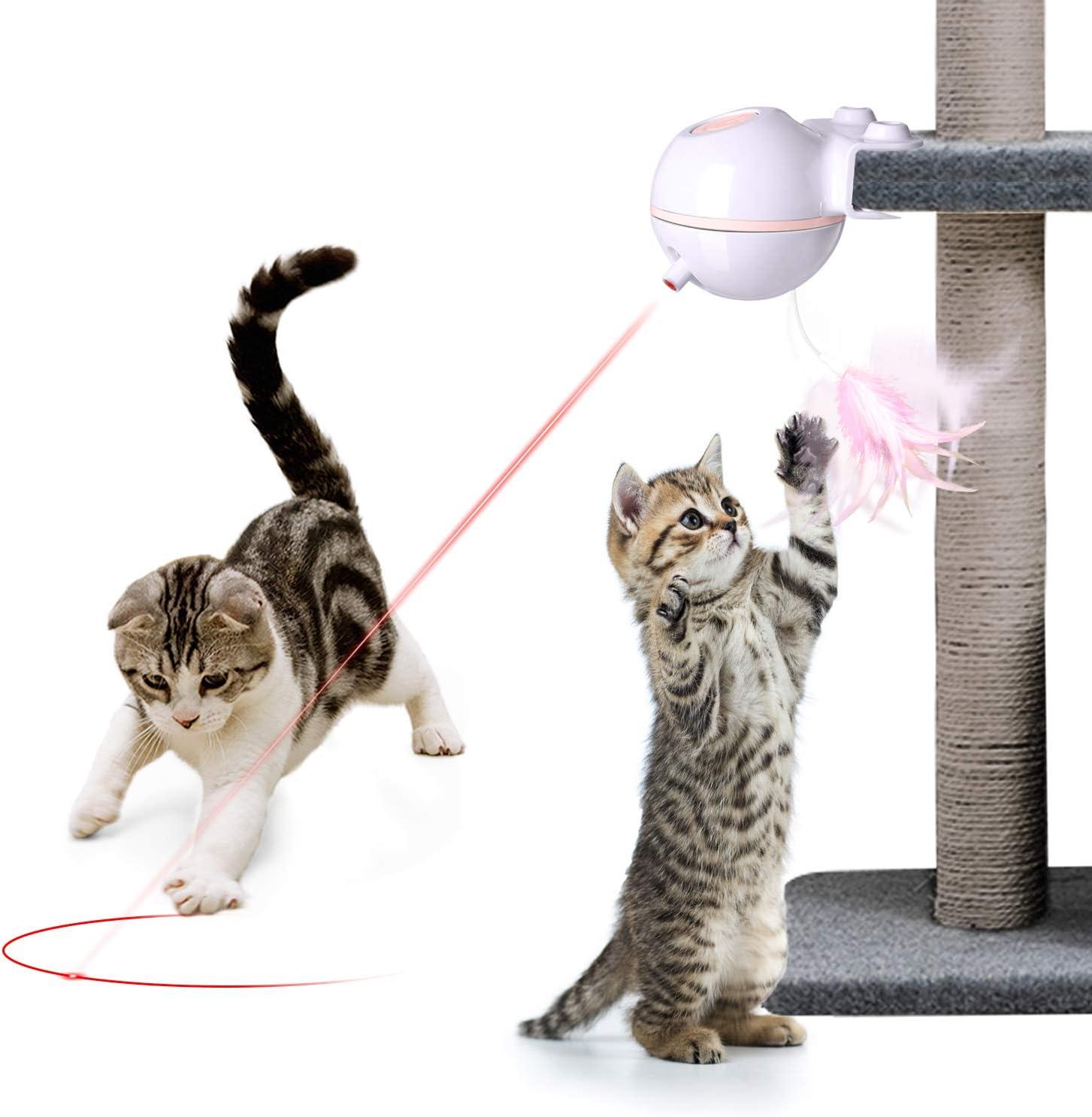 Nice Dream Juguetes para Gatos interactivos, USB Recargable Electrónico Juguete Gato, 2 en 1 Giratorio de 360 Grados con Bola y Plumas Juguetes Gatos para la Caza de Entrenamiento de Gatos (Rosado): Amazon.es: