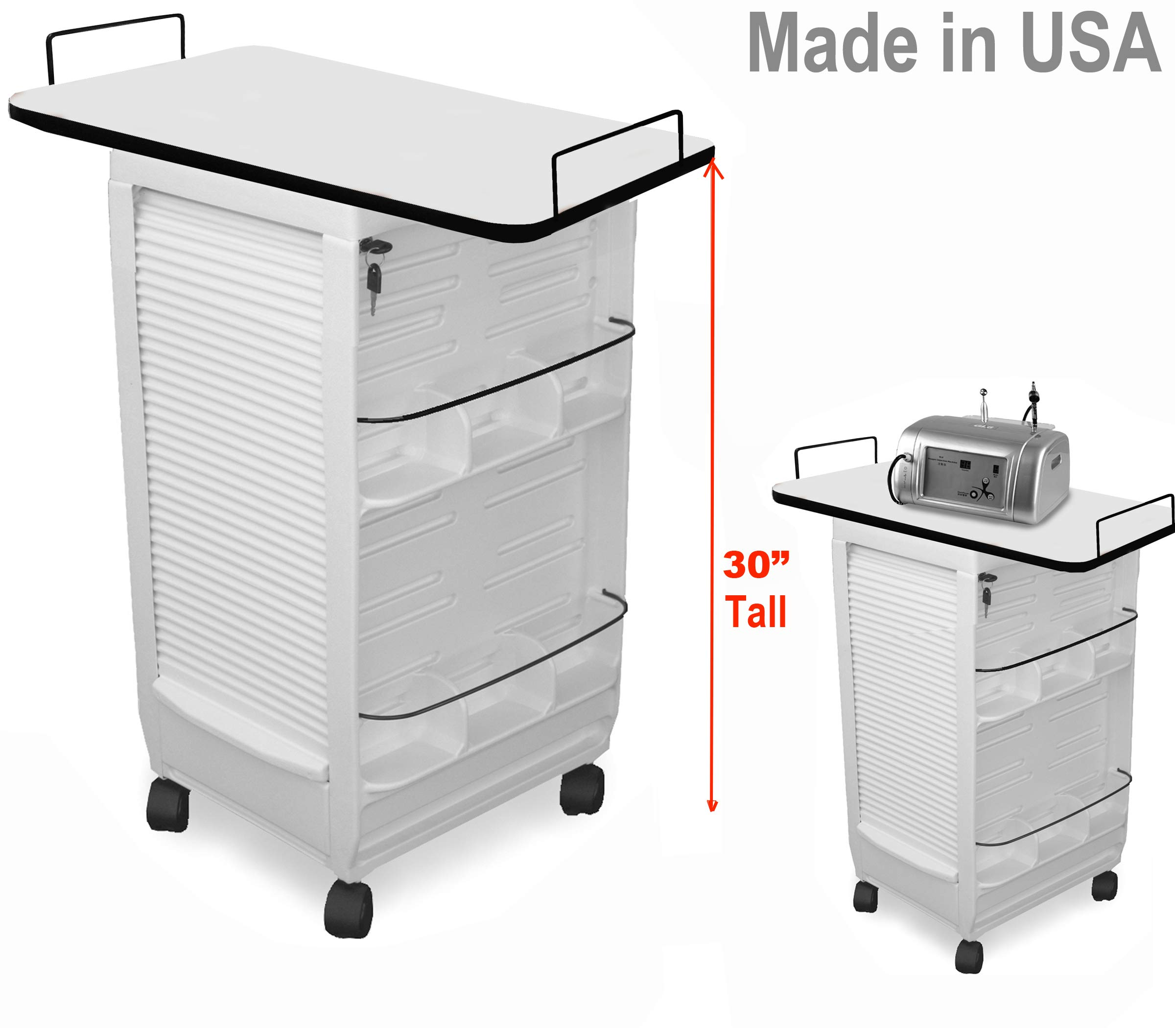 C185E-LT Mini Medical Physician Roll-About Trolley Cart White W/109 Lam. top Made in USA