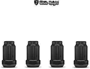White Knight 3807BK-4 Black Chrome M12x1.50 Spline Lug Nut with Key, 4 Pack