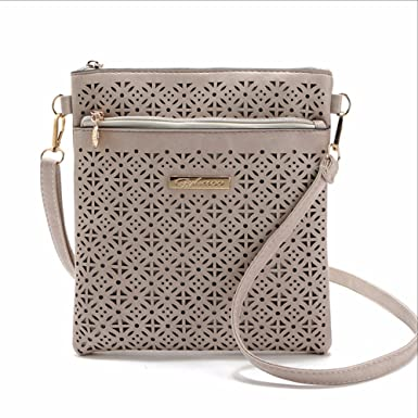 ed667c6f90f2 Image Unavailable. Image not available for. Color  Small Casual women  messenger bags PU hollow out crossbody bags ladies shoulder purse and  handbag