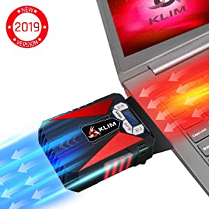 KLIM Cool Laptop Cooler Fan - Innovative Portable Cooling Design with Display - External Gaming Cooler - High Performance Ventilation - USB Cooling Pad - Quiet Air Vacuum - Reduce Heat - Red