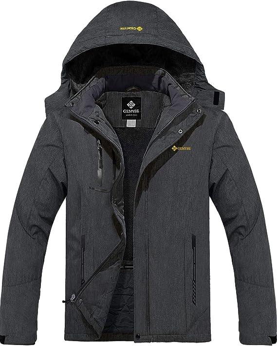 GEMYSE wasserdichte Skijacke f/ür Herren Winddichte Fleece Outdoor-Winterjacke mit Kapuze