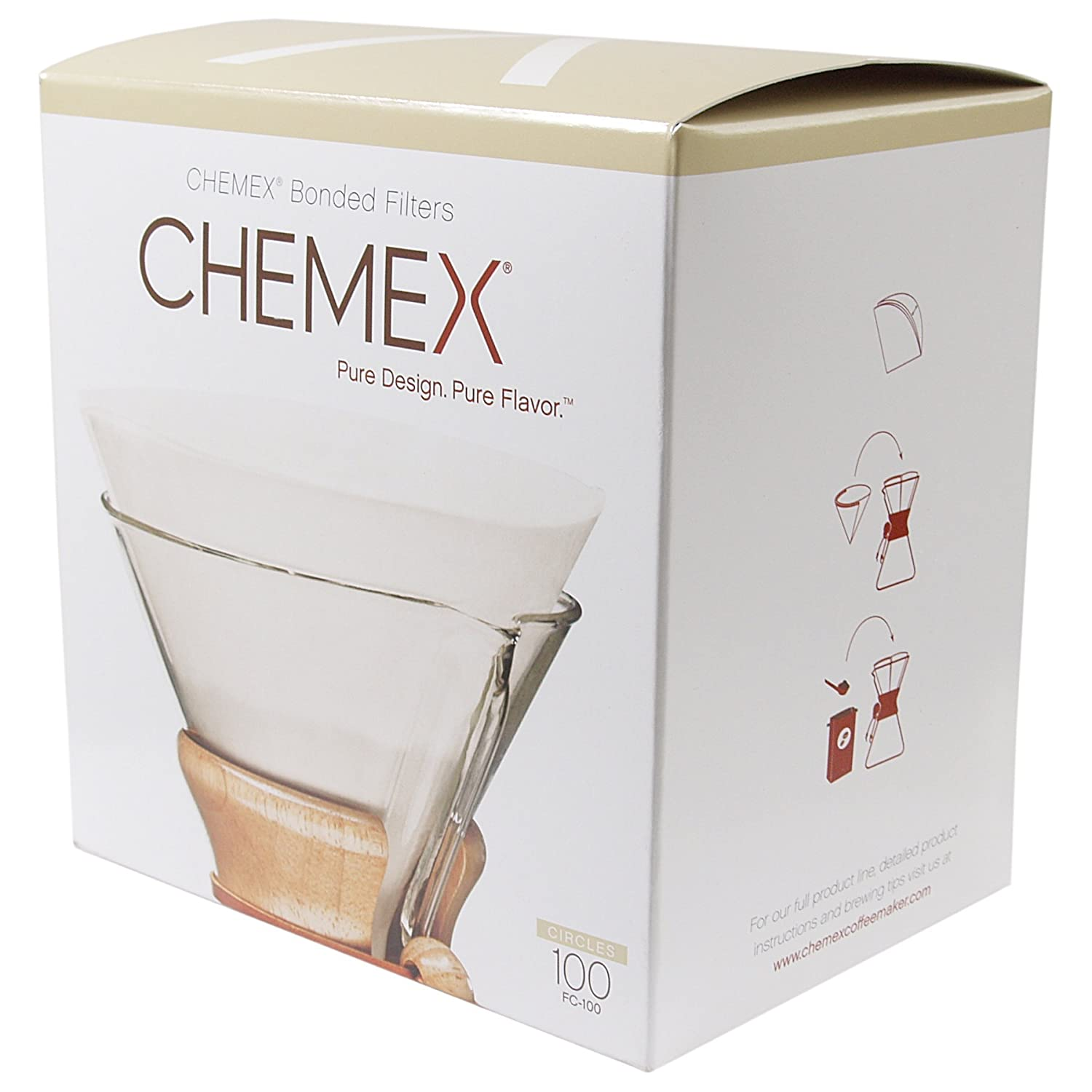 Chemex Classic Coffee Filters, Squares, 100 ct - Exclusive Packaging Chemex Coffee Maker FS-100