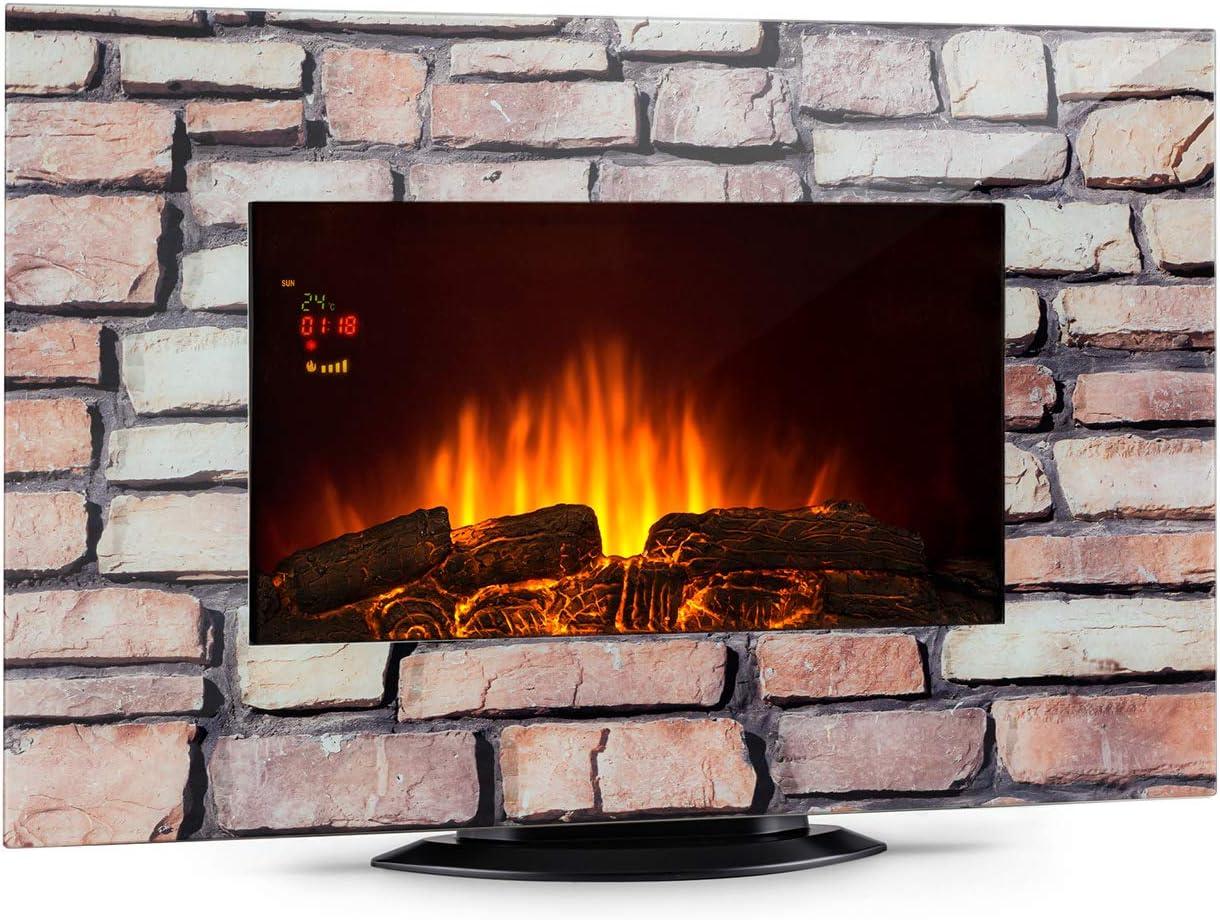 Gris r/étro/éclairage LED /à 7 Couleurs Foyer /électrique Verre t/él/écommande Incluse Effet Pierre radiateur soufflant KLARSTEIN Colmar Effet Flamme jusqu/à 2000 Watts